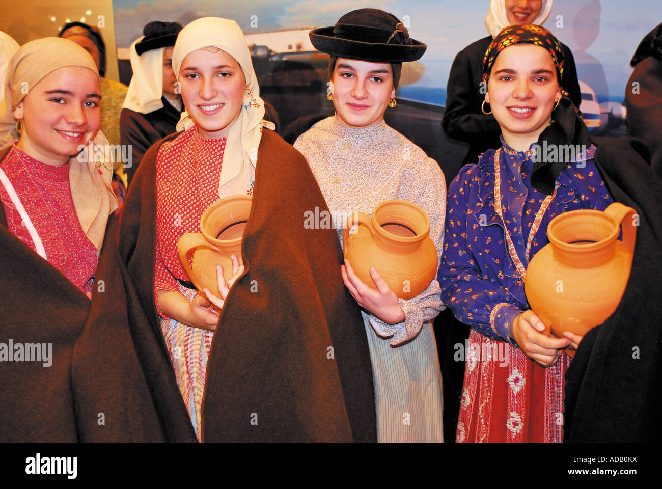 Members of the Ethnographic association Os Serranos from Belazaima do Chao in Northern Portugal at the BTL 07 in - Stock Image