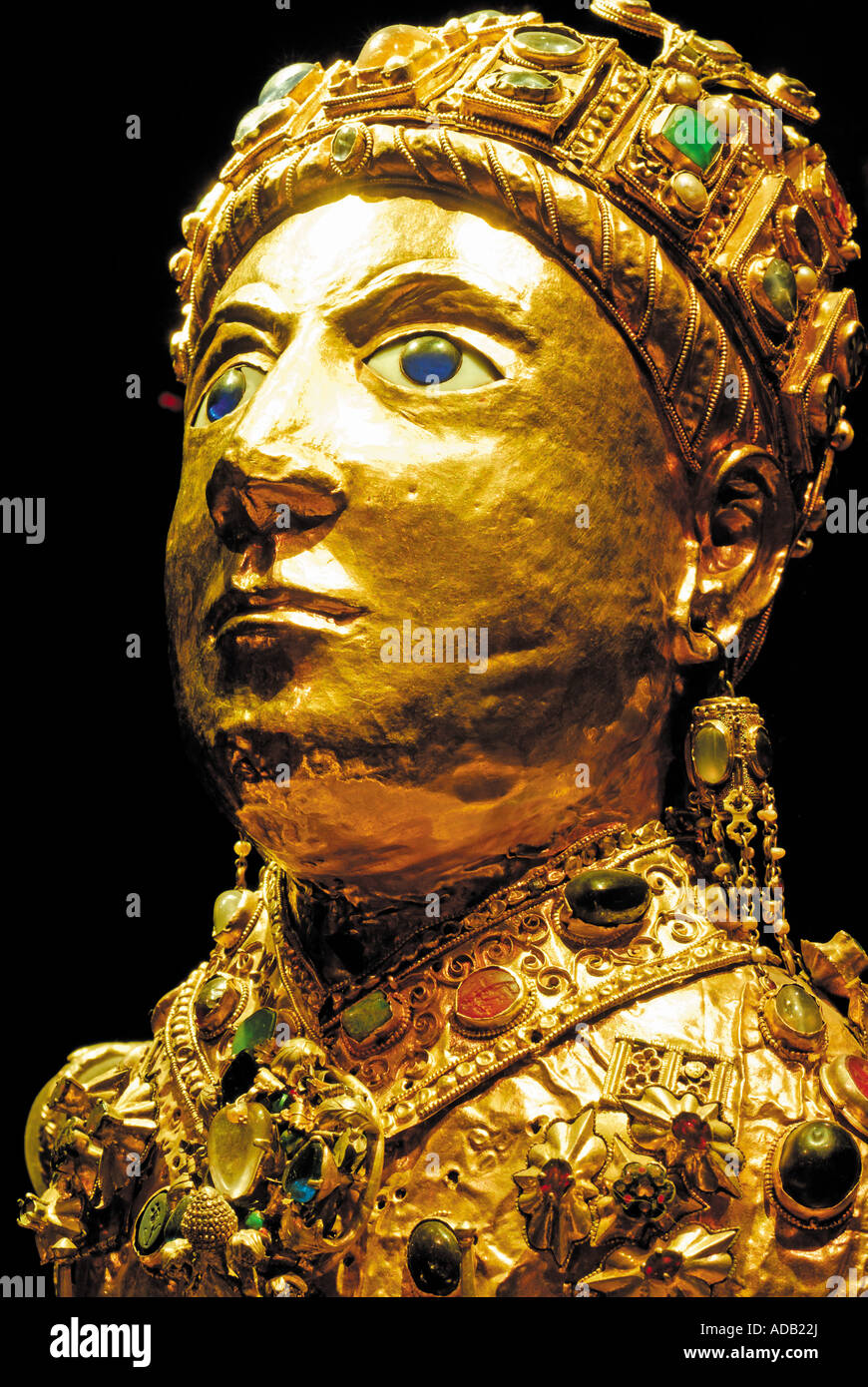 Golden statue Majesty of St. Foy, Basilica of St. Foy, Conques, Midi-Pyrenees, France - Stock Image