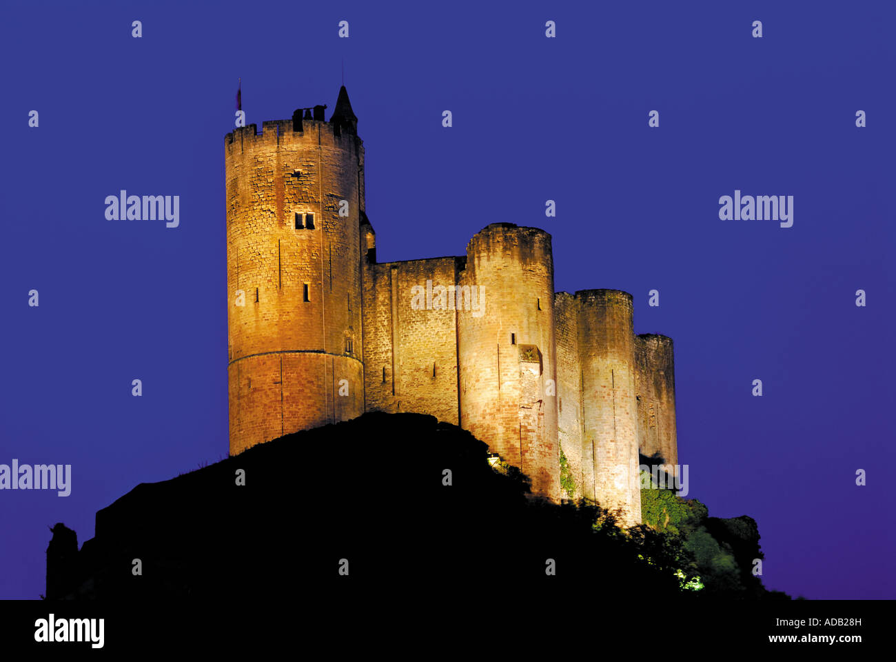 Castle of Najac by night, Najac, Midi-Pyrenees, France - Stock Image
