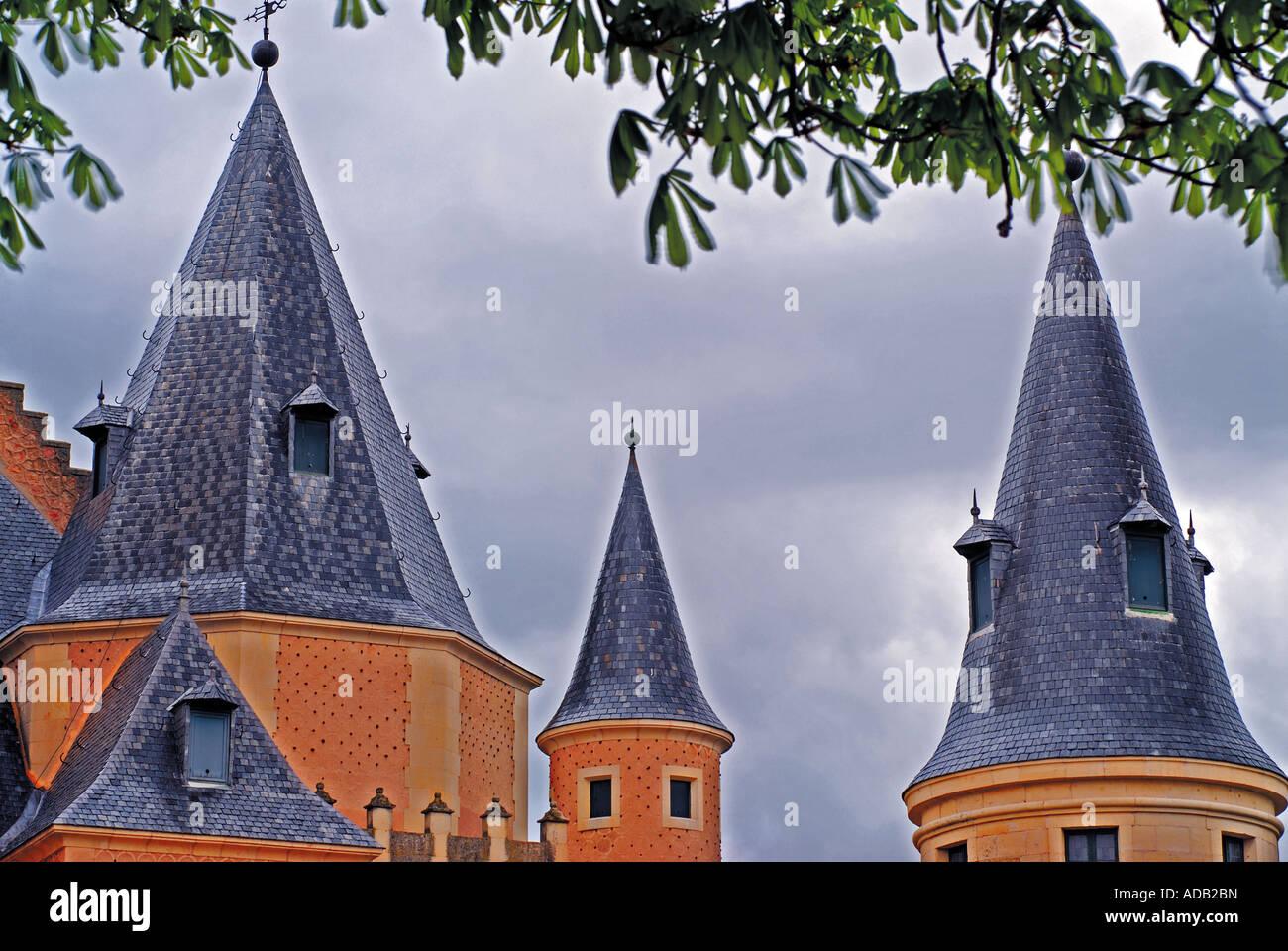 Towers of the Alcazar, Segovia, Castilla-Leon, Spain - Stock Image