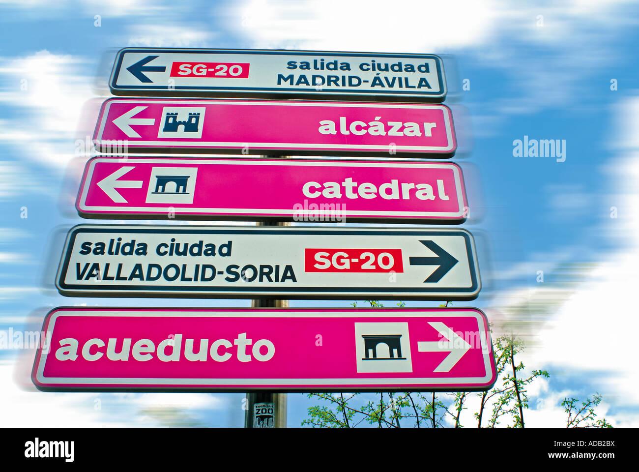 Traffic Signal in Segovia, Castilla-Leon, Spain - Stock Image