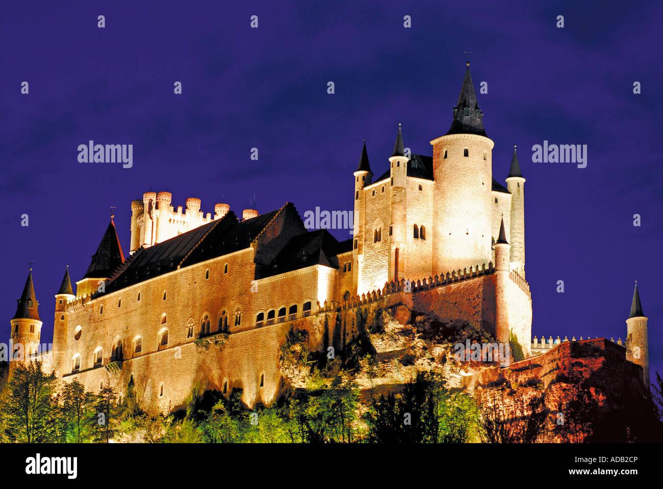 Night view of the Alcazar, Segovia, Castilla-Leon, Spain - Stock Image
