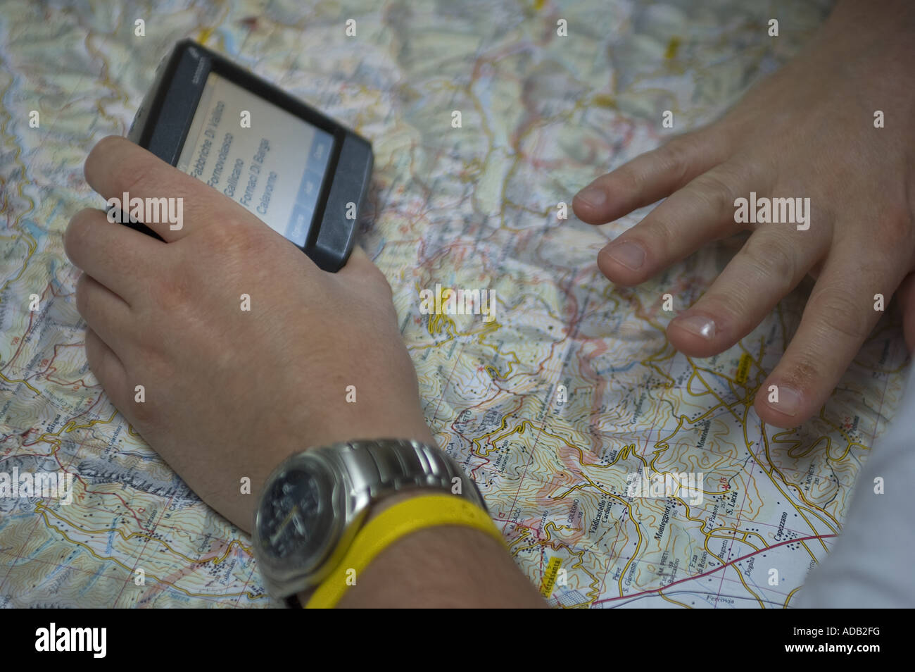 Planning Days Travelling With Tom-Tom Sat Nav And Map - Stock Image
