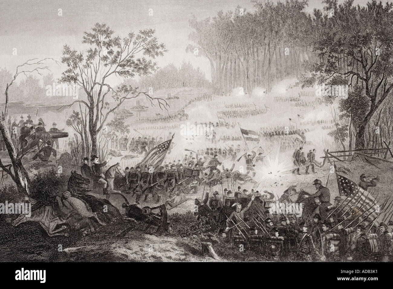 The Battle at Pittsburg Landing also known as the Battle of Shiloh Tennessee 1862 - Stock Image