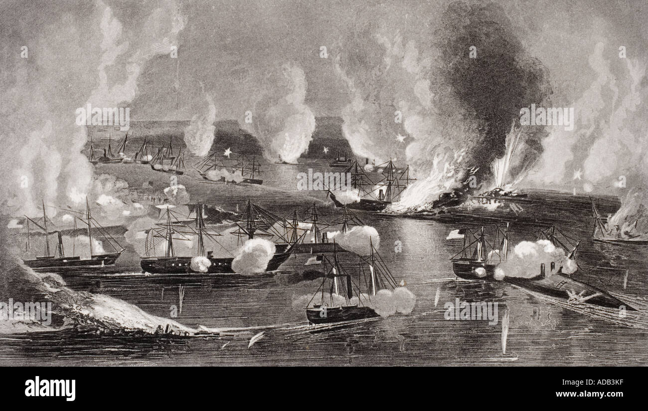 Capture of Forts Jackson and St Phillip Louisiana 1862 - Stock Image