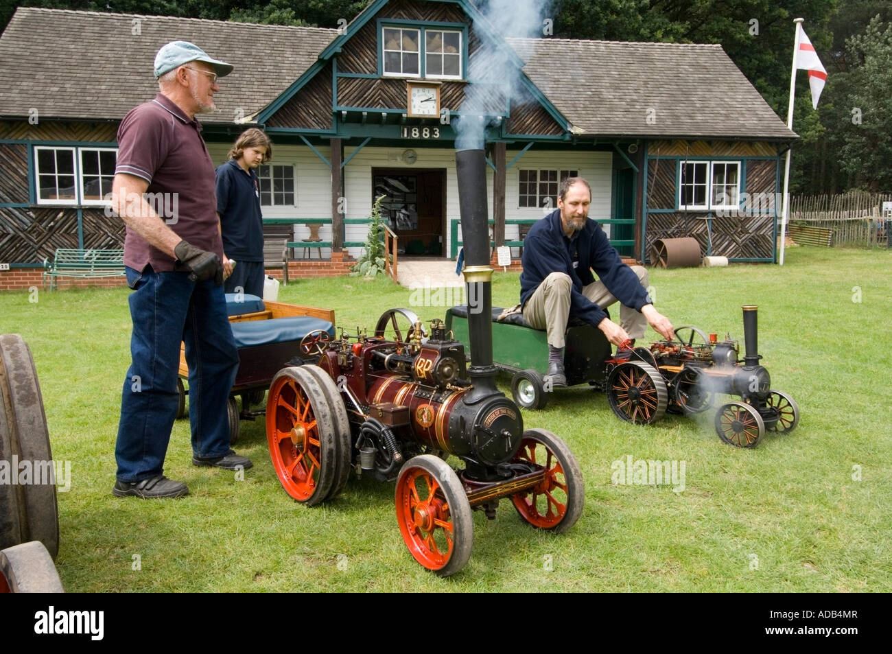 Rural Life Centre - Tilford - Surrey - UK - Working miniature steam engine - Stock Image