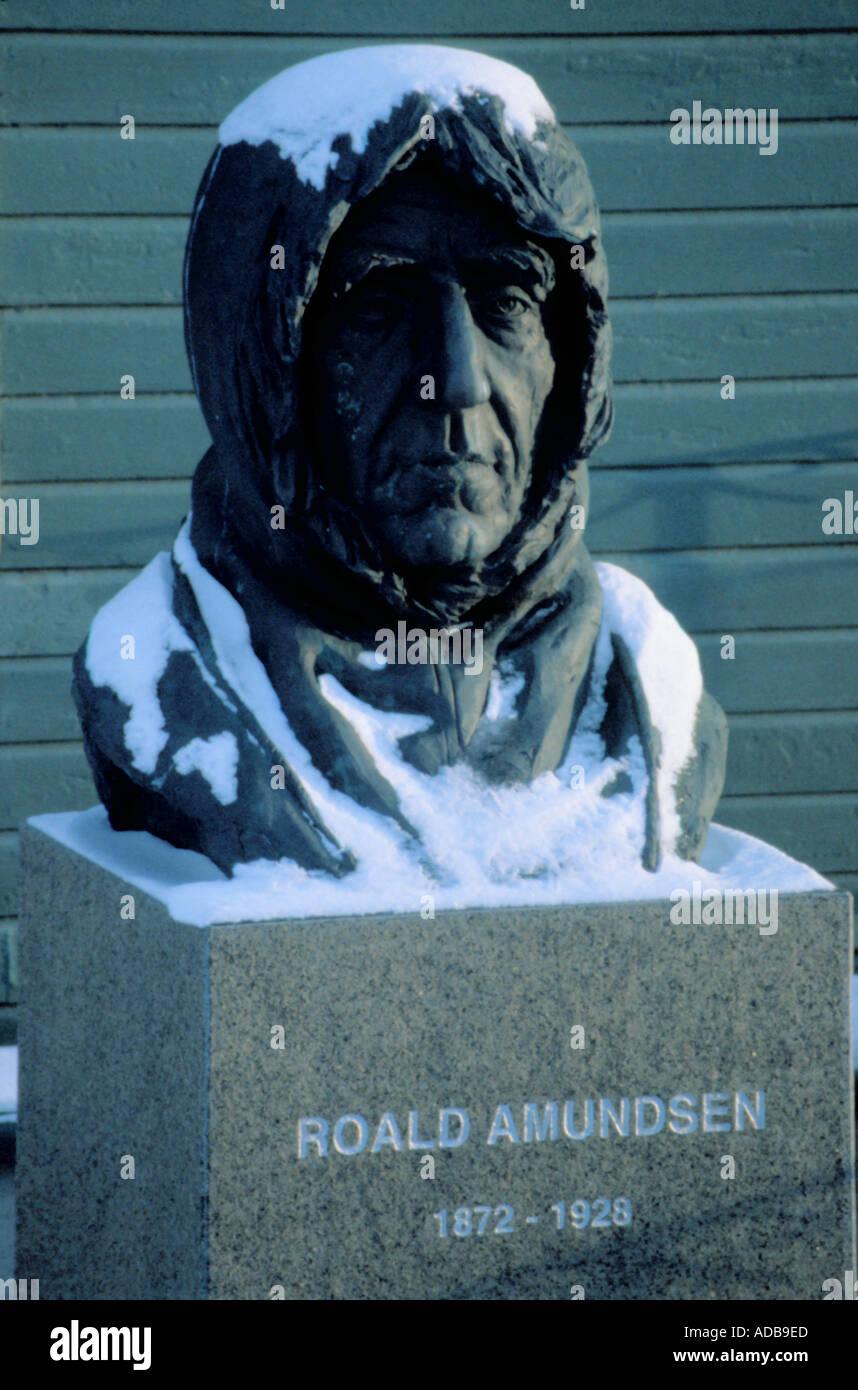 Bust of Roald Amundsen, Tromsø, Troms, Norway. Stock Photo