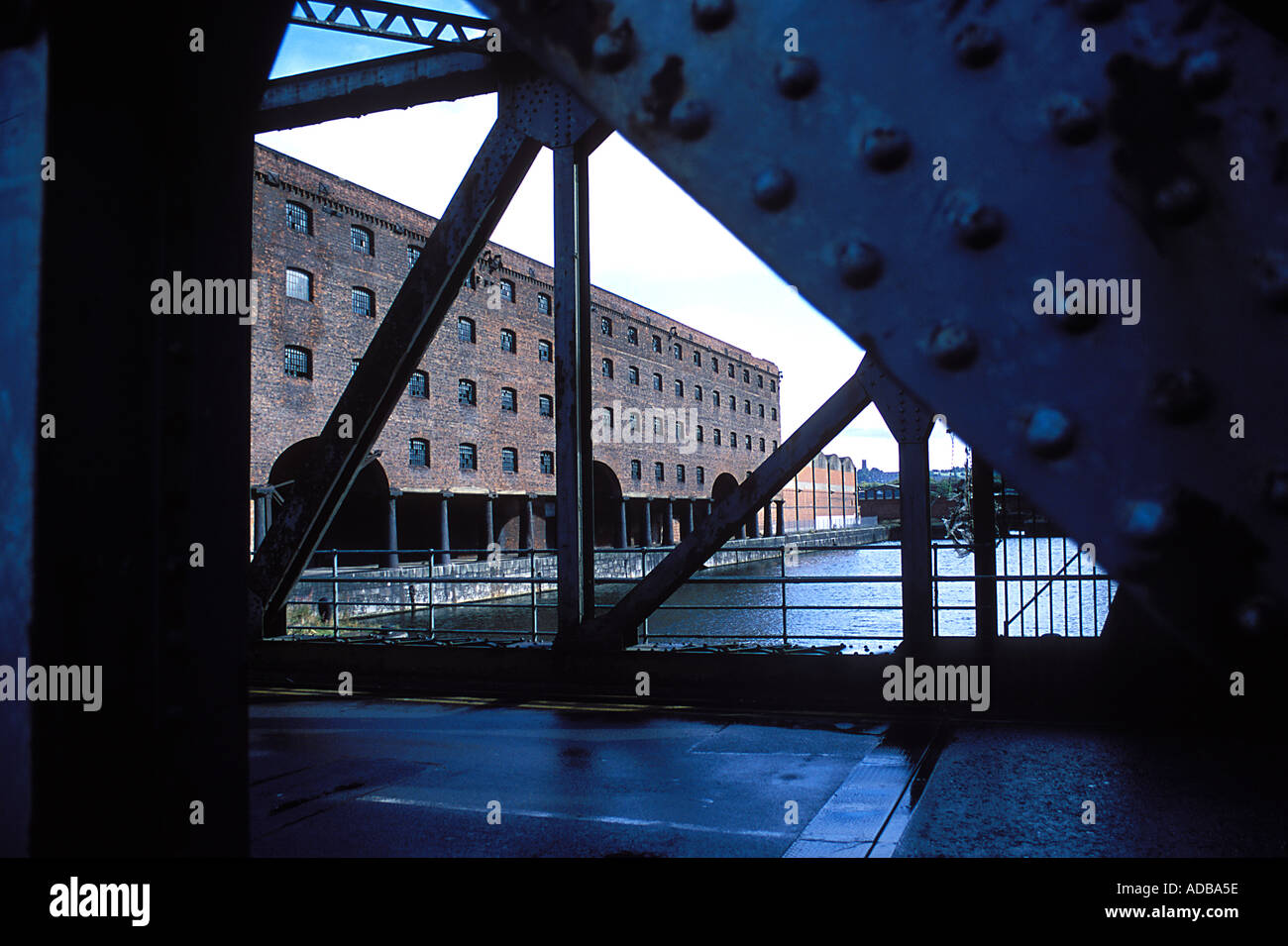 View of the vacant Stanley Dock Warehouse from the bridge 1848 by Jesse Hartley Stock Photo
