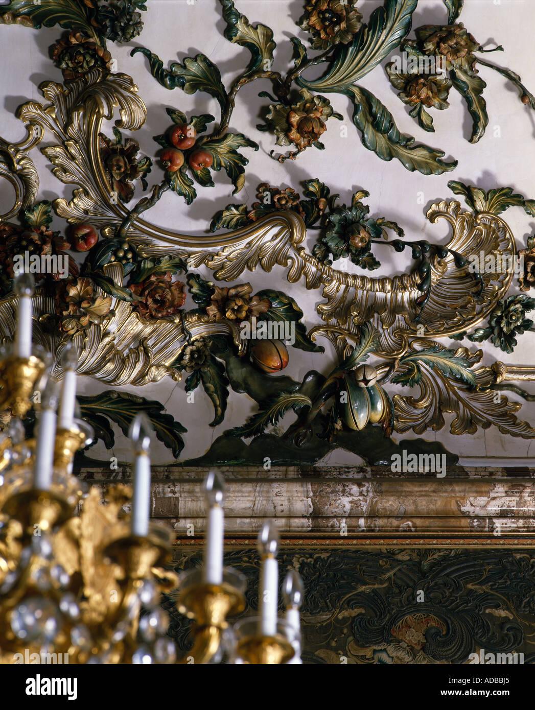 Royal Palace Madrid. Moulded plaster work of fruit. Stock Photo