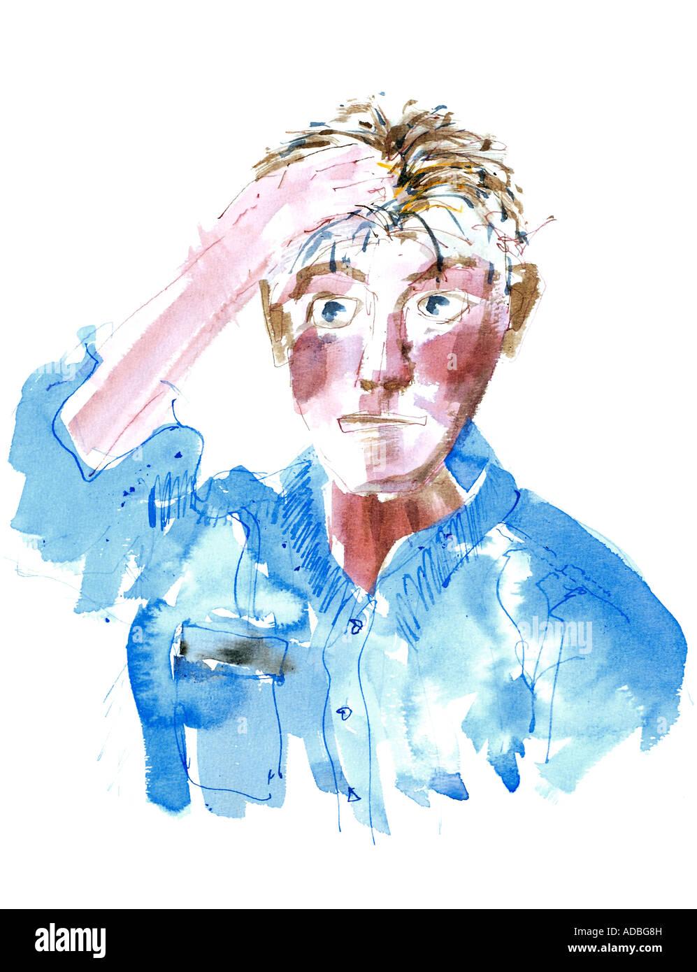 Self-portrait pen and wash drawing - Ed Buziak. - Stock Image