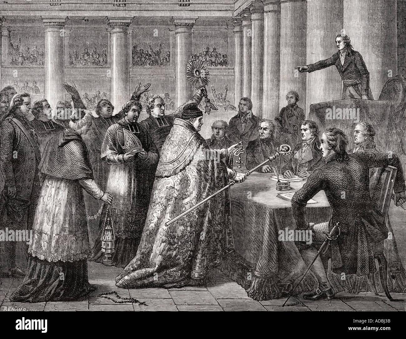 Gobel resigns his episcopal office 1793 Jean Baptiste Joseph Gobel 1727 1794 French ecclesiastic politician archbishop of Paris - Stock Image