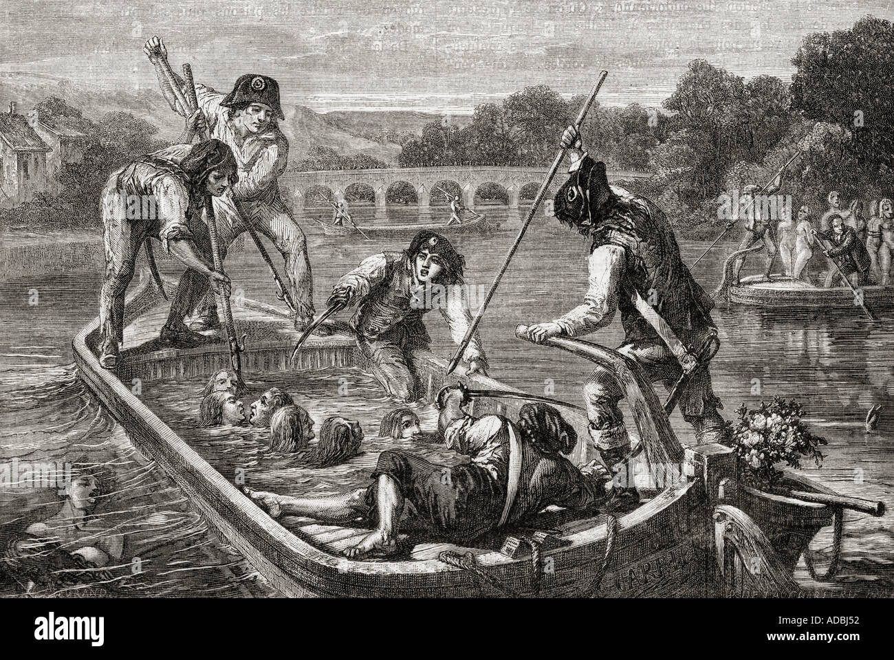The drownings in the Loire during The Terror 1793 - Stock Image