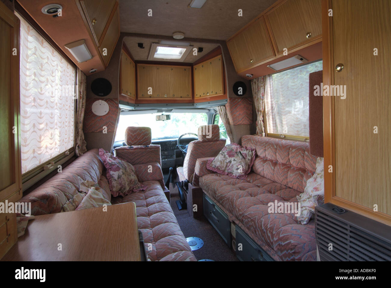 Interior Of Two Birth Coach Built Camper Van Viewed Towards Cab End