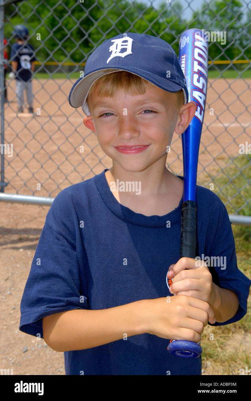 Portrait of a 6 year old t ball baseball player - Stock Image