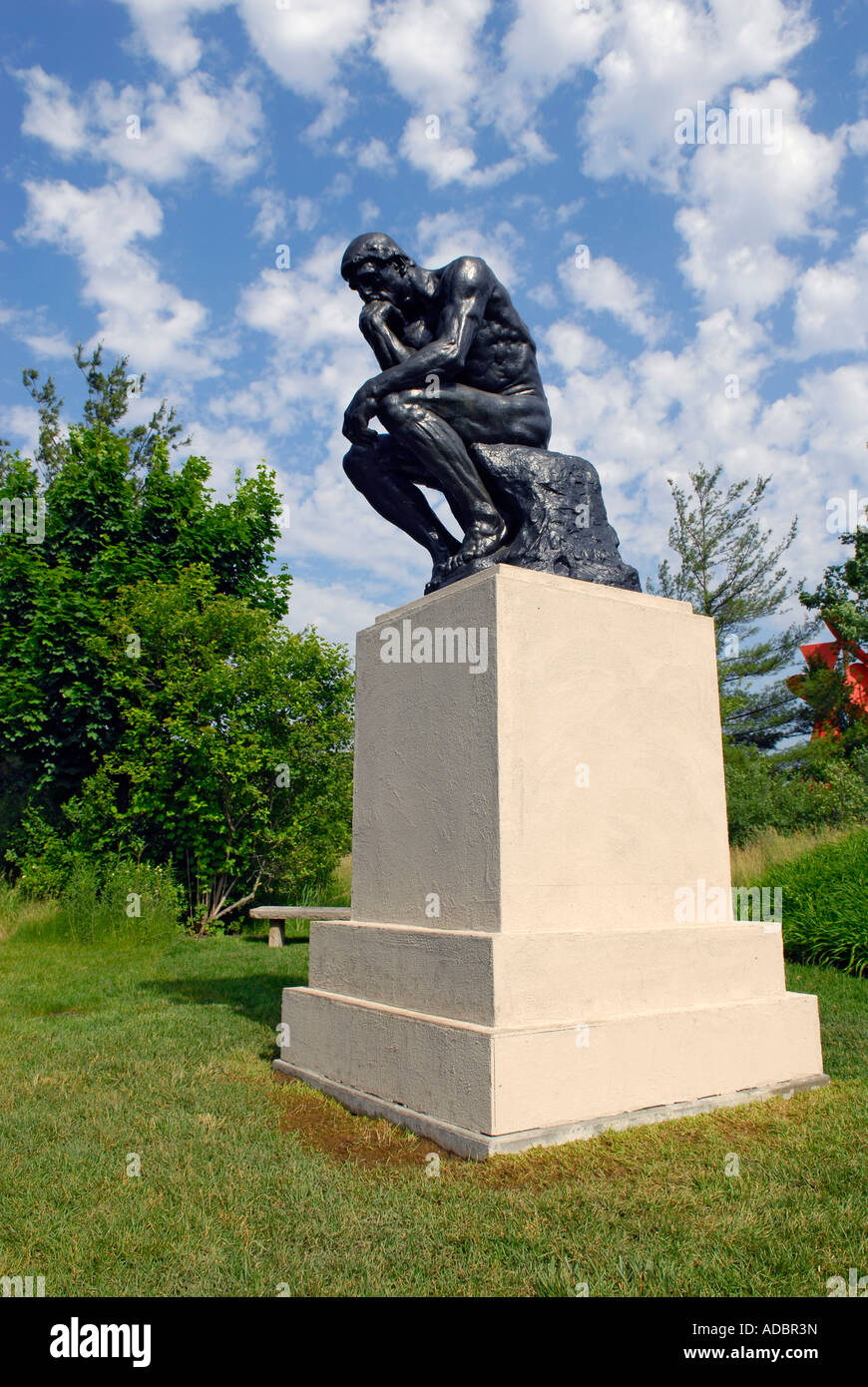 The Thinker 1904 by Auguste Rodin at the Frederik Meijer Gardens and Sculpture Park in Grand Rapids Michigan MI - Stock Image