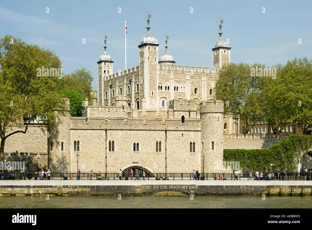 River Thames Tower of London a UNESCO World Heritage Site with close up of waterborne entrance to Traitors Gate London England UK - Stock Image