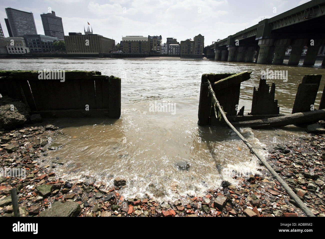 The River Thames at Low Tide in London England Stock Photo