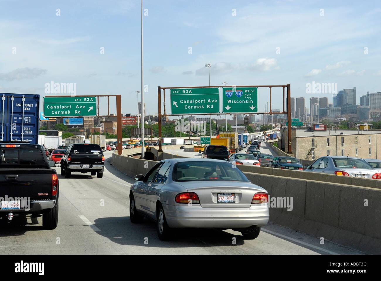 Illinois Chicago Traffic Congestion On Stock Photos
