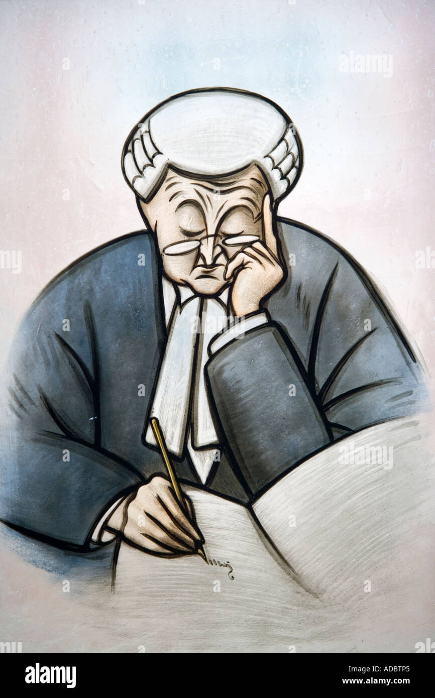 Cartoon of a judge 18th century stained glass window - Stock Image