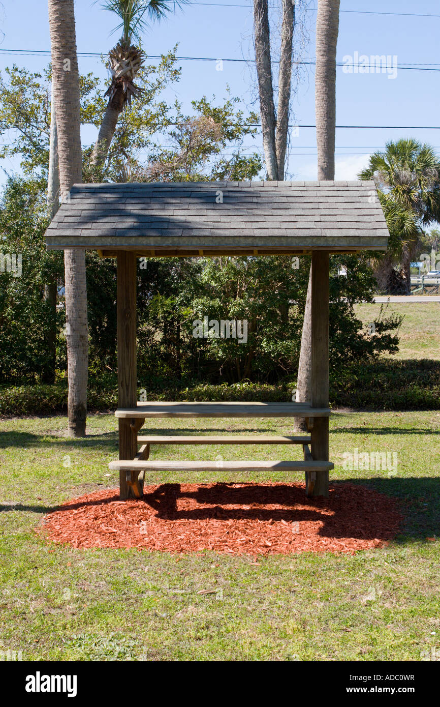 Small Park Shelters : Small park shelter with table and seating stock photo