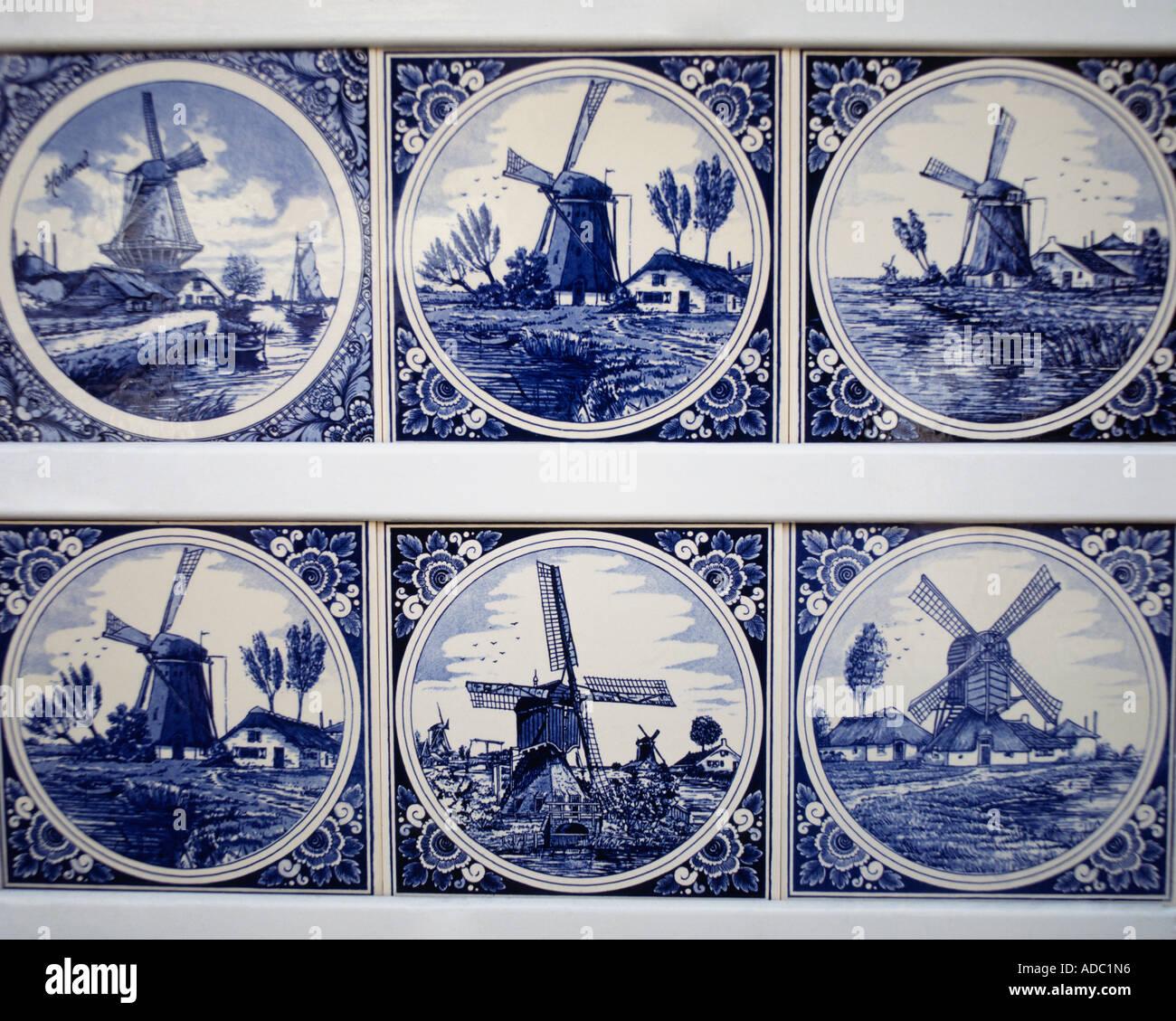 Blue [Delft pottery] tiles Netherlands - Stock Image