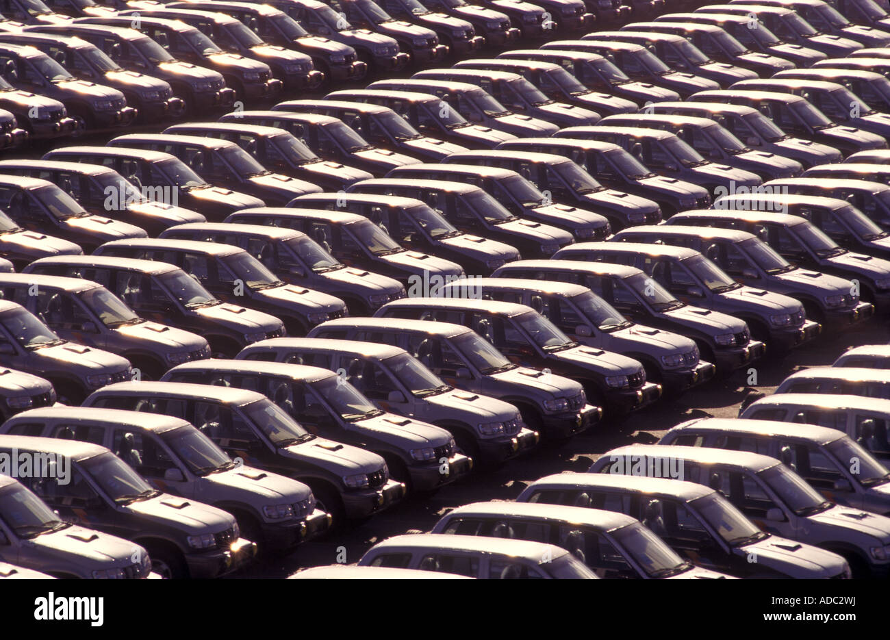 Cars for exportation Fiat plant Brazil Automobile industry Mass production - Stock Image