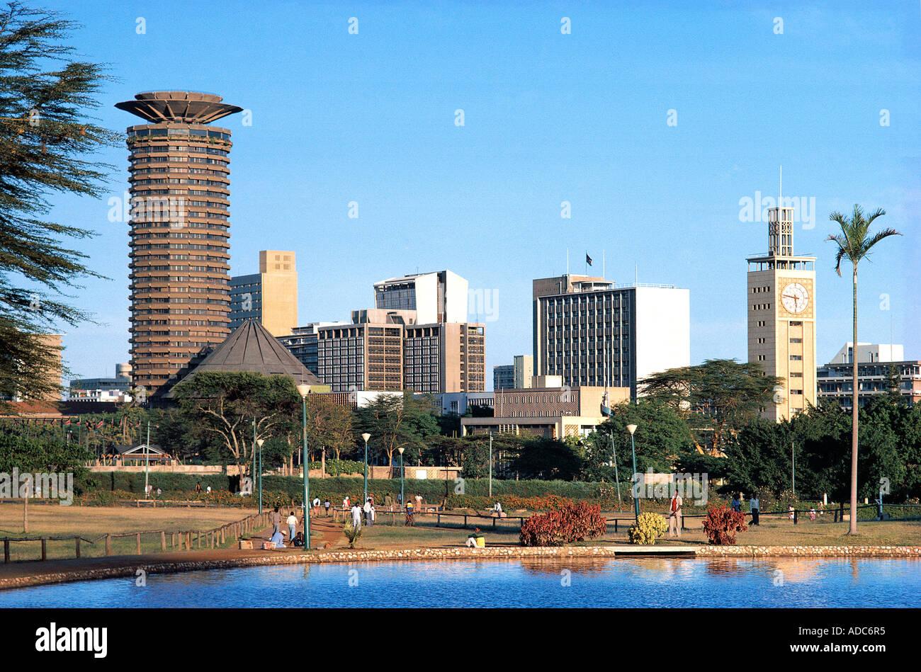 Nairobi City Skyline Seen From Uhuru Park Nairobi Kenya