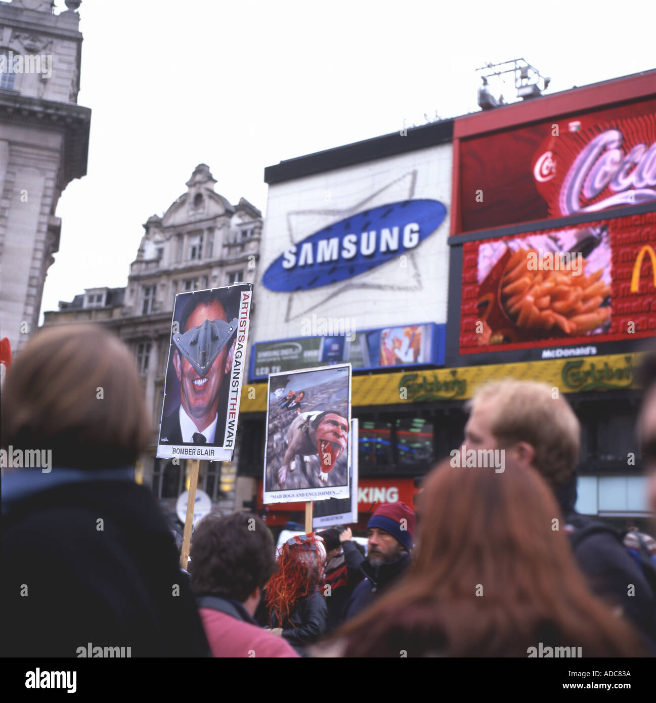 Picadilly Circus Anti War Rally protest on 15th February 2003 in London England UK - Stock Image