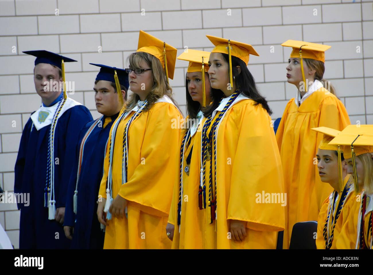 Ceremonies for graduating high school students - Stock Image