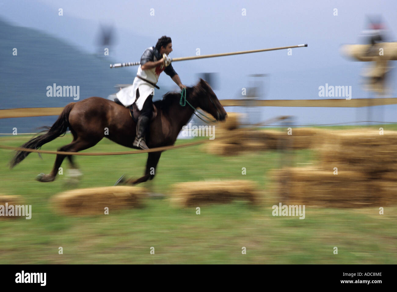 Knights tournament at the traditional historic recall of the Middle Ages, Sale Marasino, Italy - Stock Image