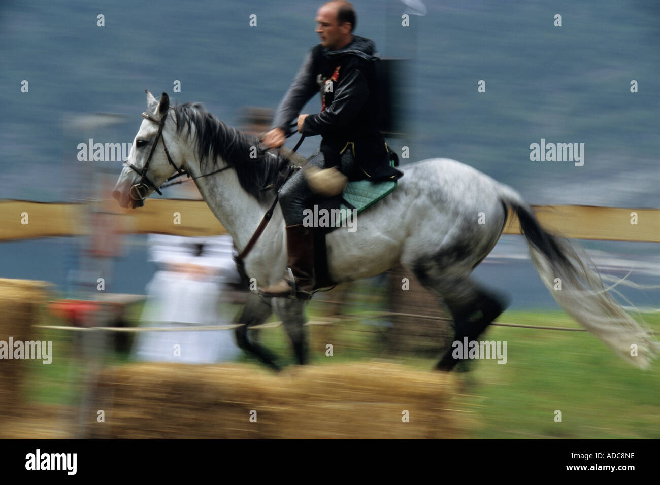 The knights tournament at the traditional historic recall of the Middle Ages, Sale Marasino, Italy - Stock Image