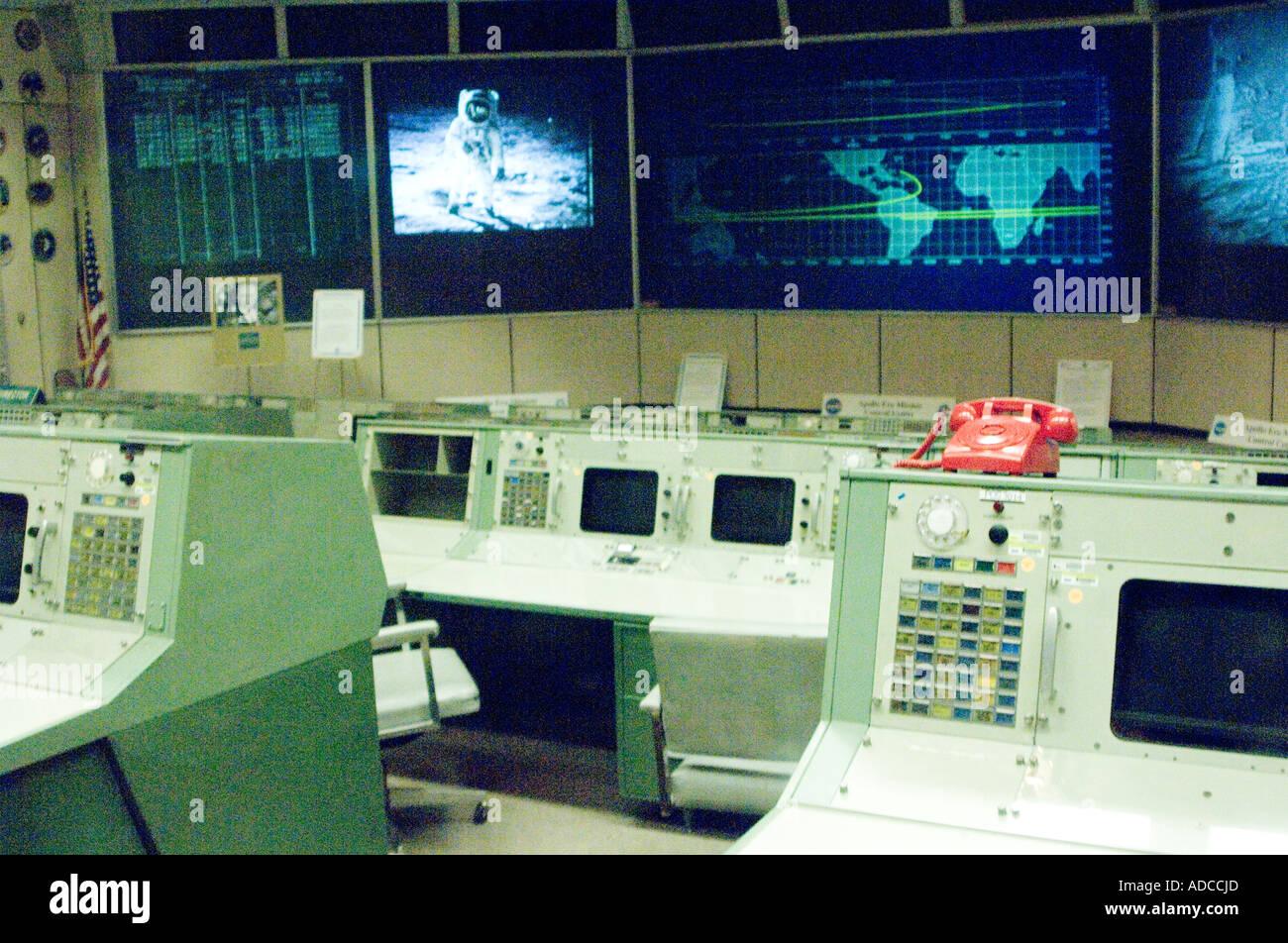 inside apollo program mission control NASA Houston. - Stock Image
