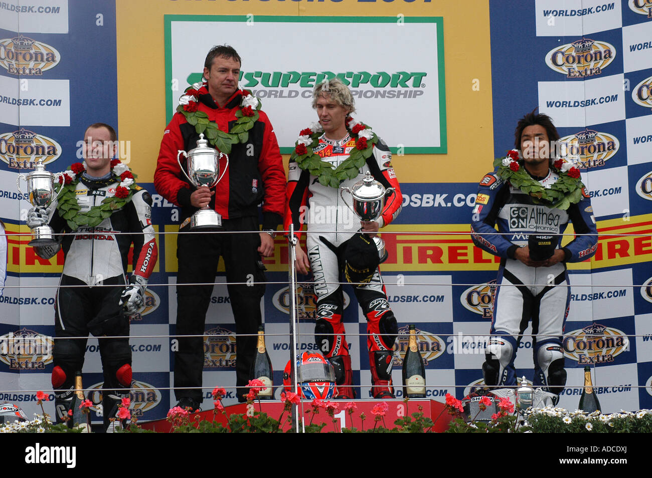 Round 7 World Supersport Podium at Silverstone, Northamptonshire, England - Stock Image