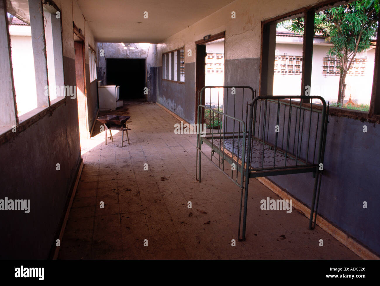 Hallway in a looted hospital in the town of Zwedru Liberia - Stock Image