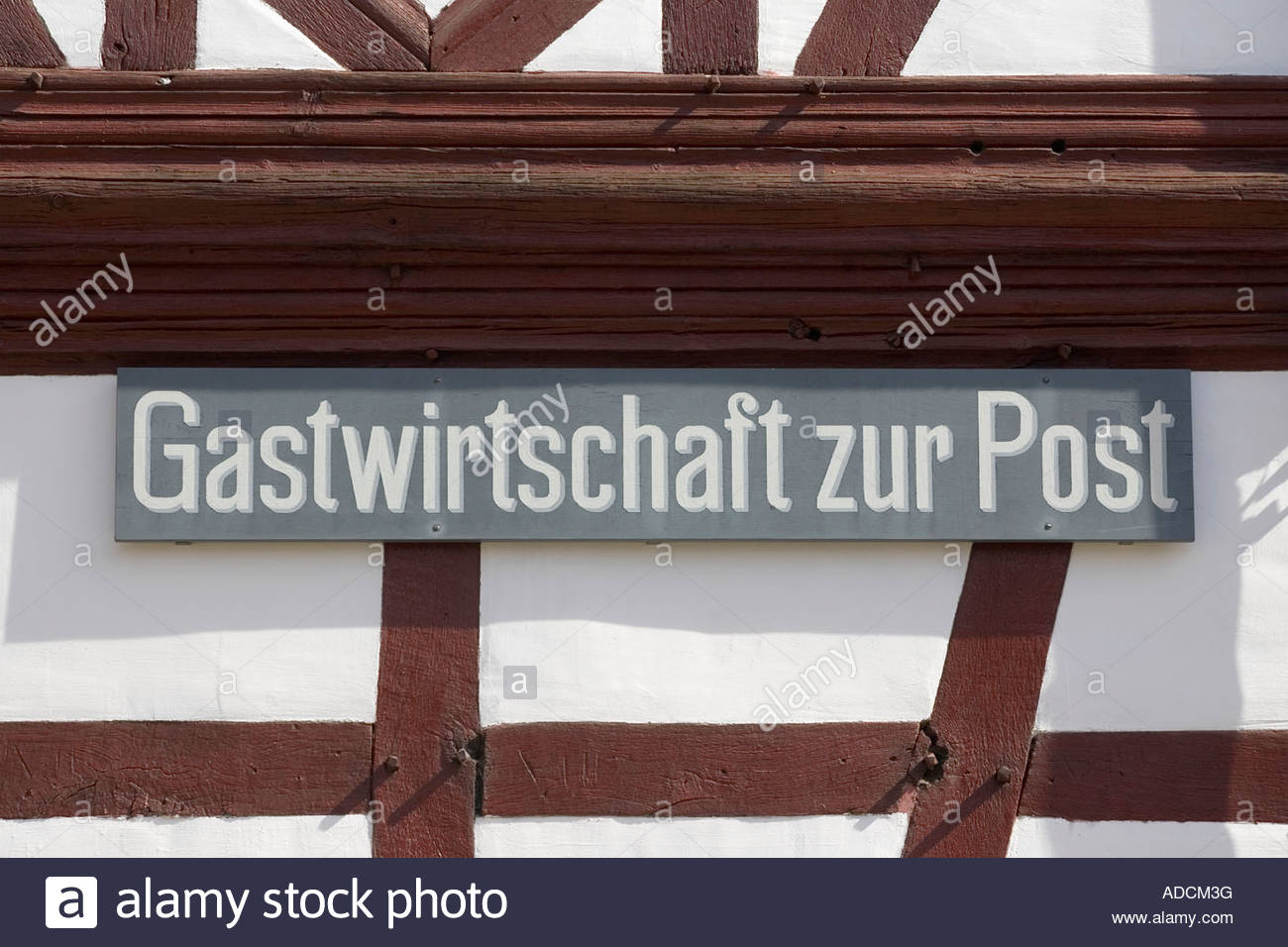 timber framed cottage wall Eifel Germany - Stock Image