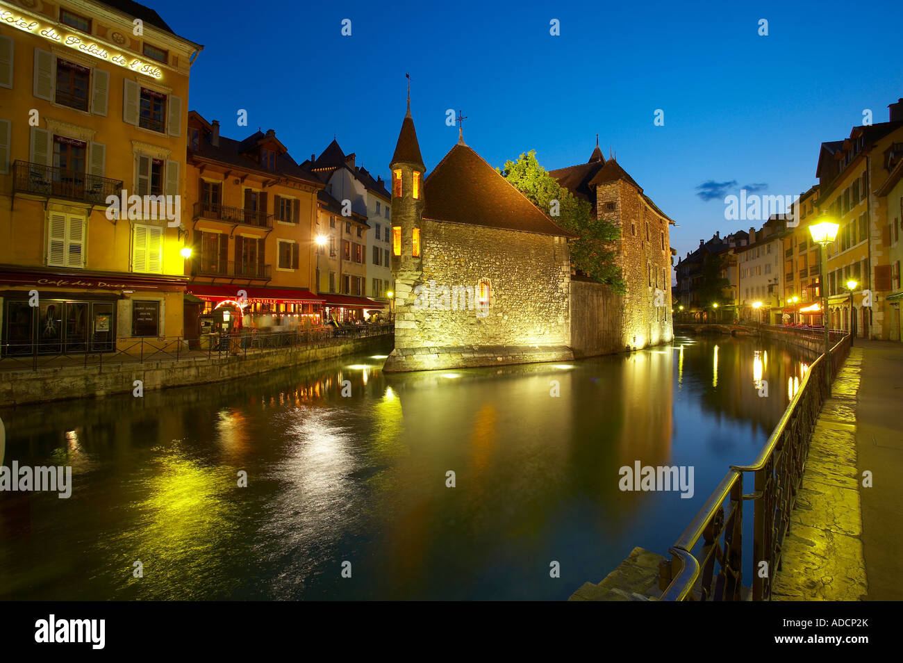 the Thiou canal and Palais de l Isle at night Annecy Savoie France NR - Stock Image
