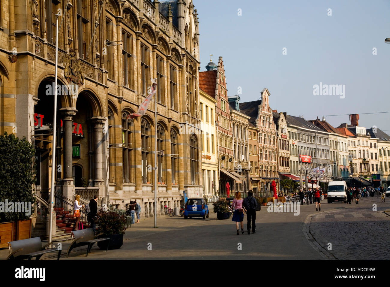 Shopping street in downtown center of Gent, Ghent, Belgium, Europe - Stock Image
