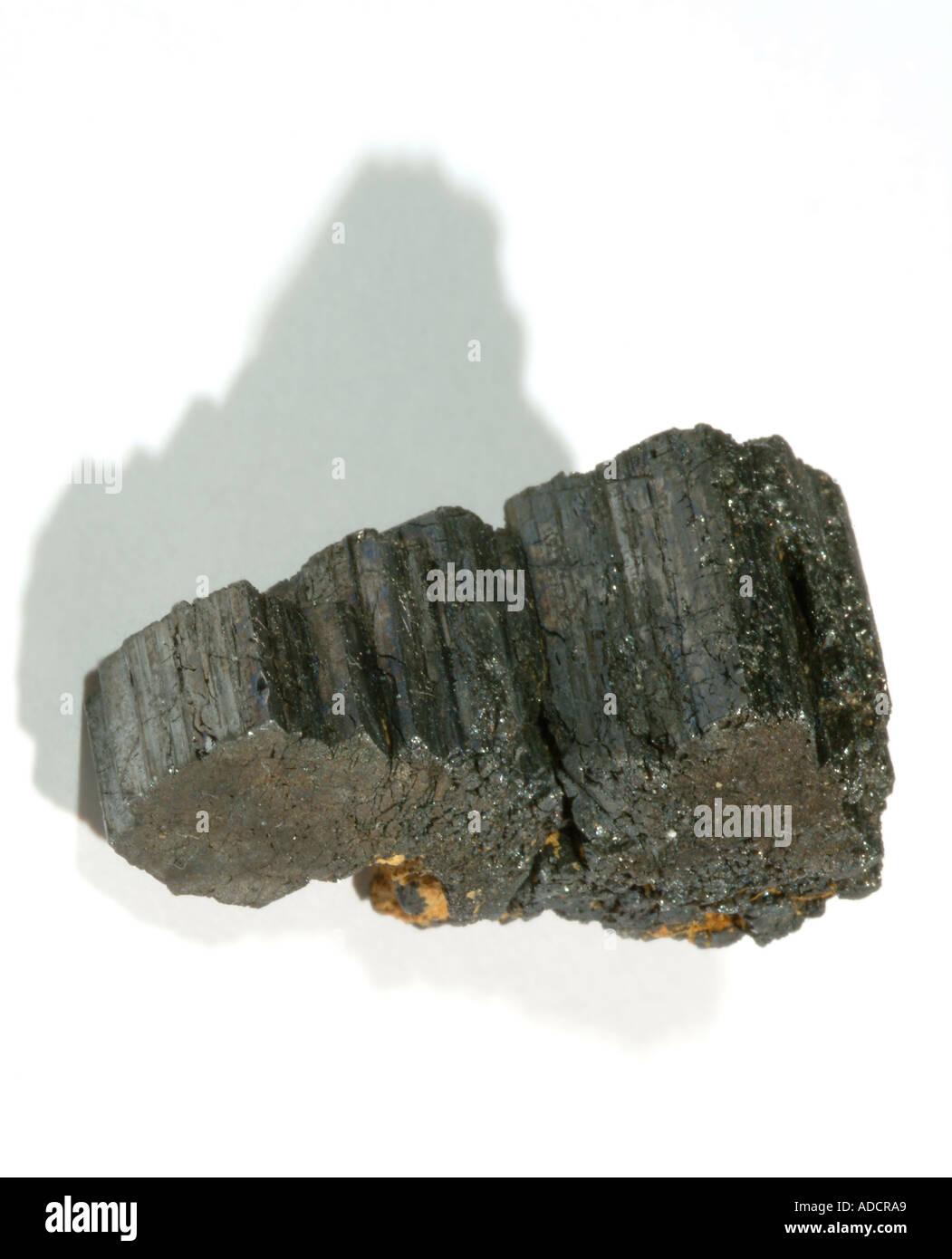 Mineral Tetrahedrite, Three intergrown cog wheels of tetrahedrite that has replace bournonite. No matrix, Machacamarca mine, Colavi, Saavedra, Potosí Dept, Bolivia - Stock Image