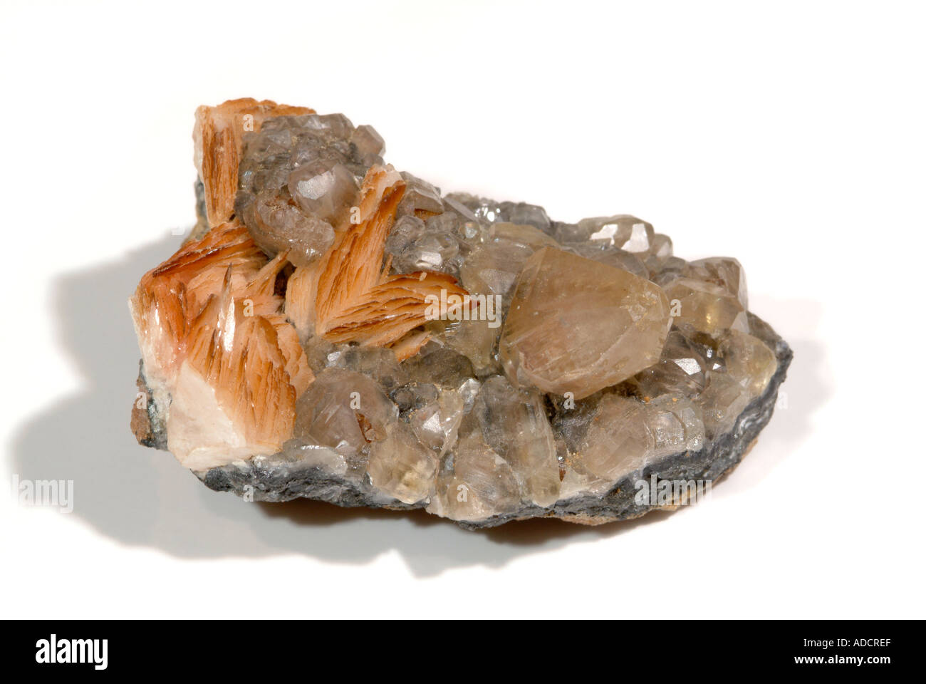 Mineral Cerussite, Cerussite crystals with red edge tinted baryte crystals, Mibladen mine, near Midelt, Morocco - Stock Image