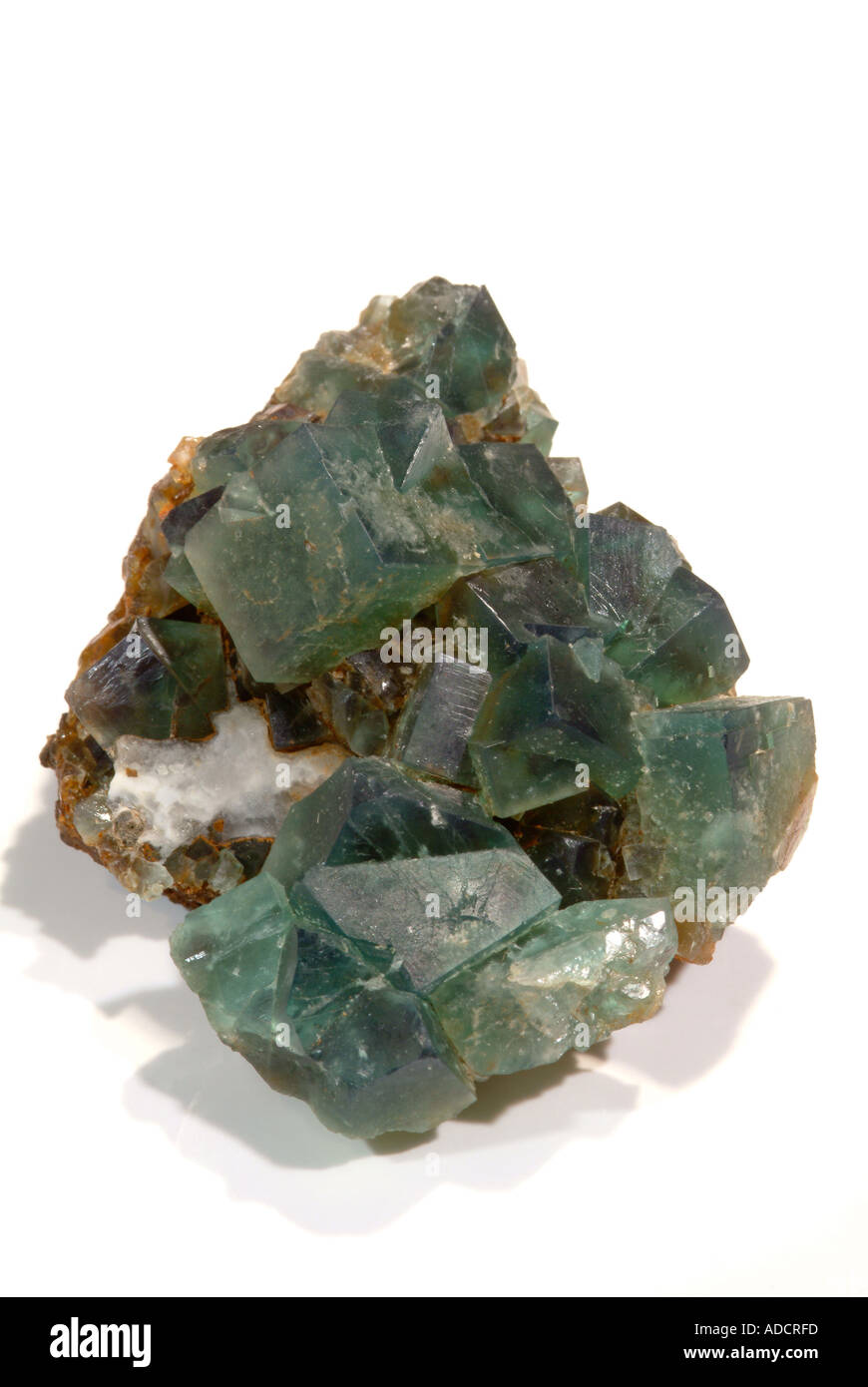 Mineral Fluorite, Blue-green cubes with twinning, Rogerly Quarry, Stanhope, Co. Durham, England - Stock Image