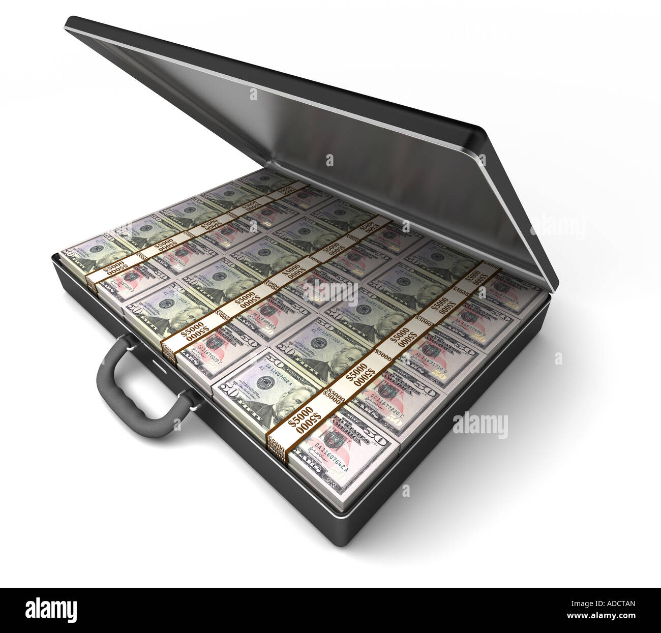 A briefcase full of 50 dollar banknotes. White background. $50 dollar notes. - Stock Image