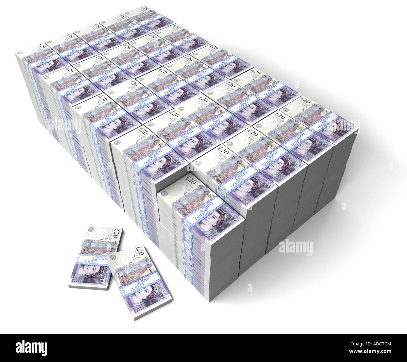 A Million Pounds. Bank notes stacked upon a white background. Wealth. Money. - Stock Image