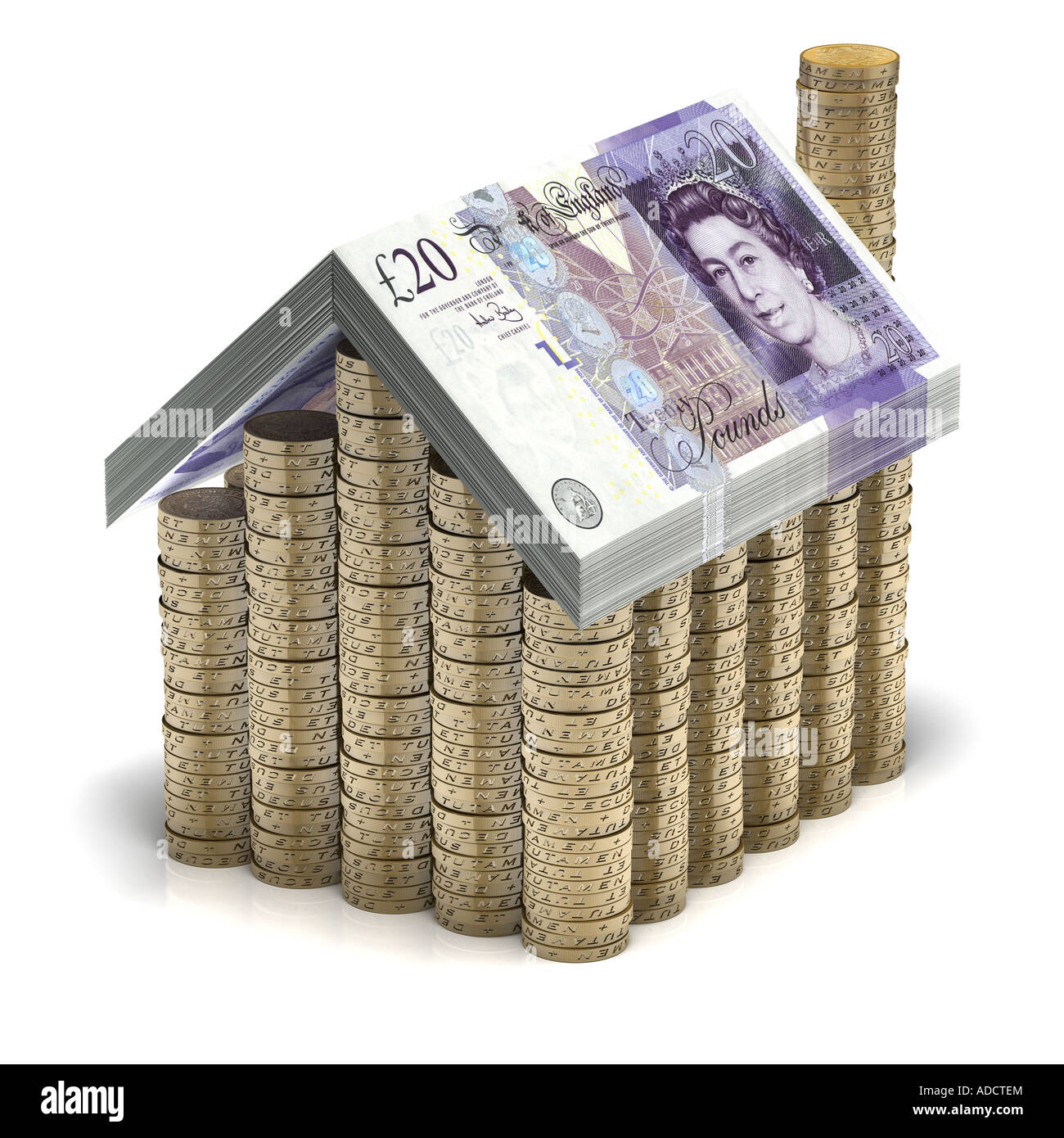 Safe as Houses. A house made of pound coins & banknotes. Mortgages, Finance - Stock Image