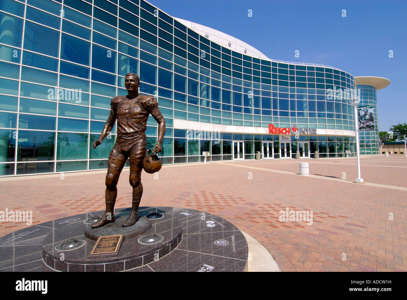 Bart Starr Statue at the Resch Center and Green Bay Packer football Hall of Fame Wisconsin WI - Stock Image