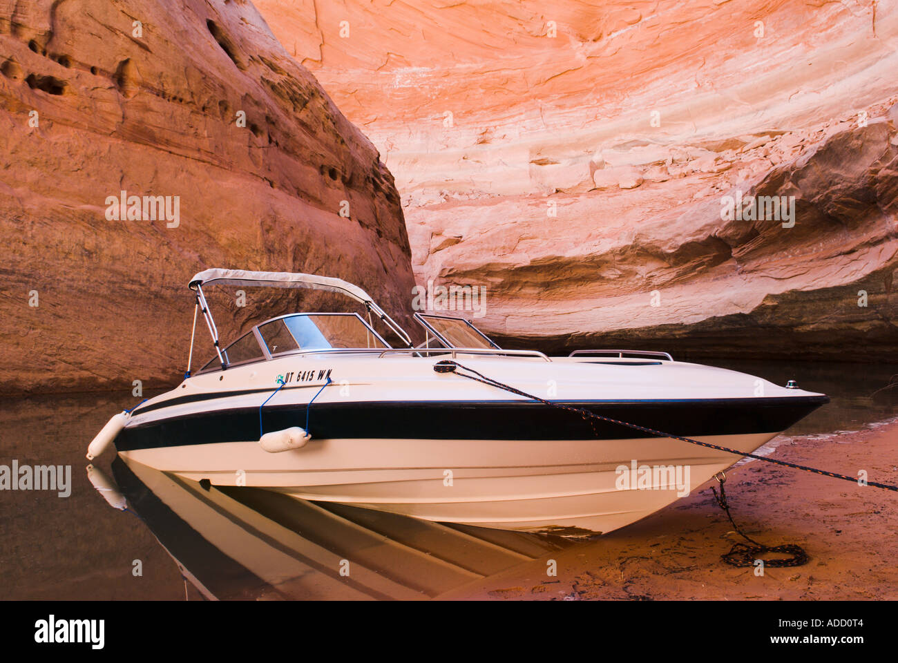 A speedboat adds more graceful curves to the scene at Lake Powell A part of the Glen Canyon National Recreation Area - Stock Image