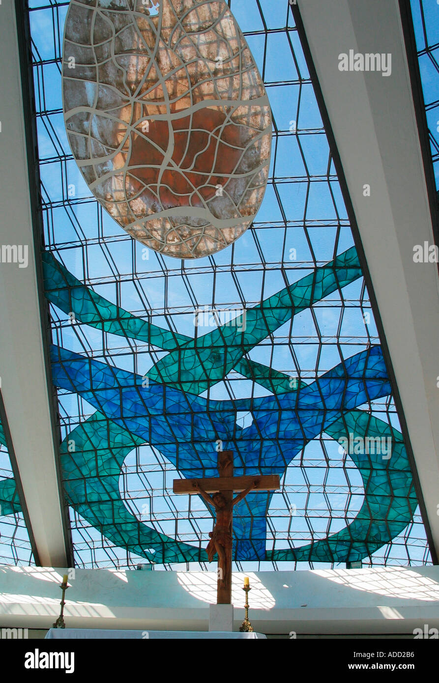 Cross and Stained Glass Metropolitan Cathedral in Brasilia Stock Photo