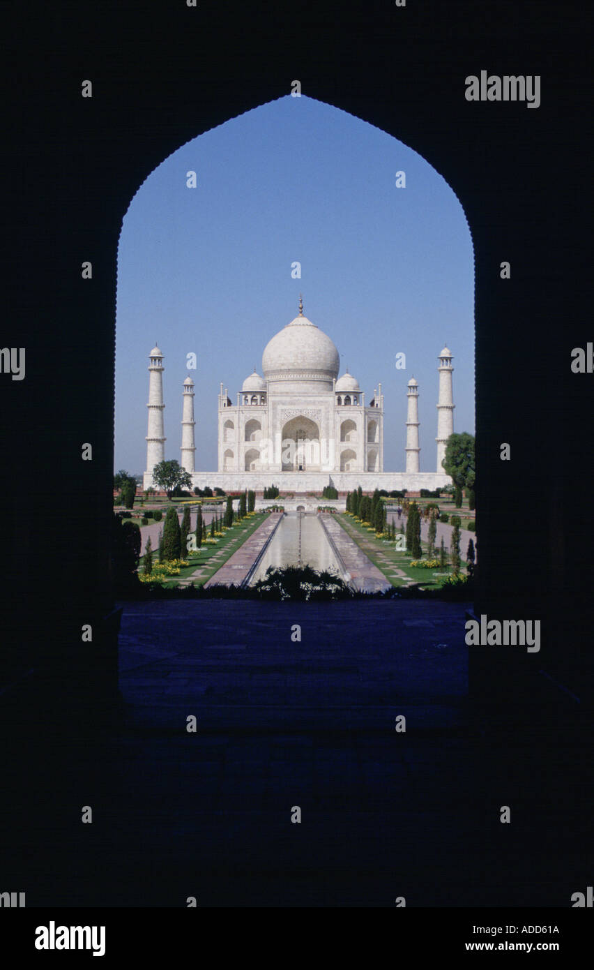Taj Mahal photographed through an arch Agra India - Stock Image