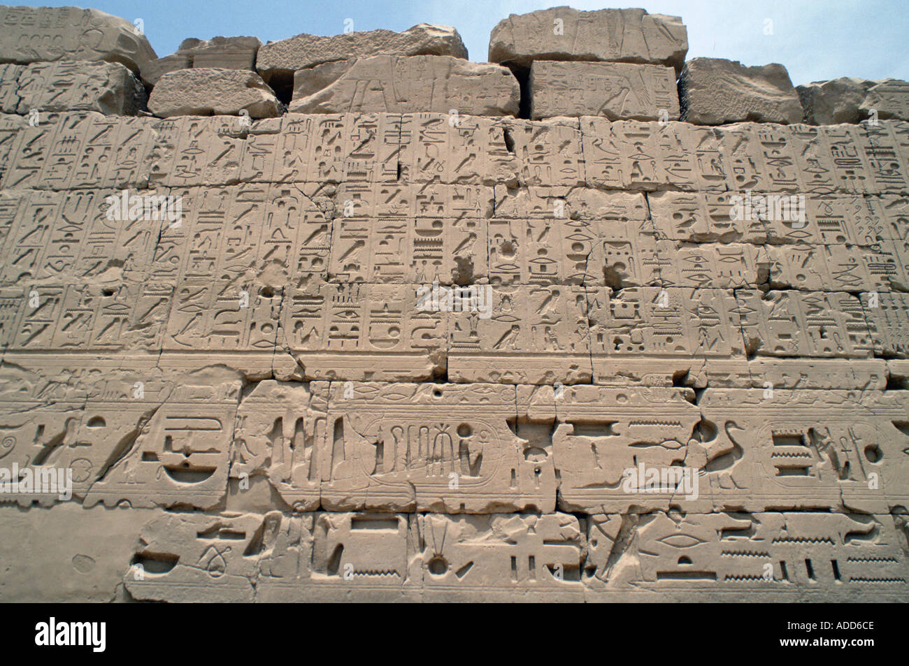Ancient inscriptions on a wall in the Great Hypostyle Hall Karnak Temple Luxor Egypt Stock Photo