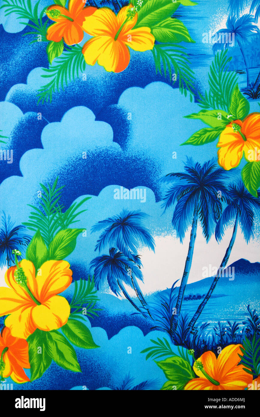 Close Up Of Bright Blue Hawaiian Vintage Fabric With Orange Hibiscus