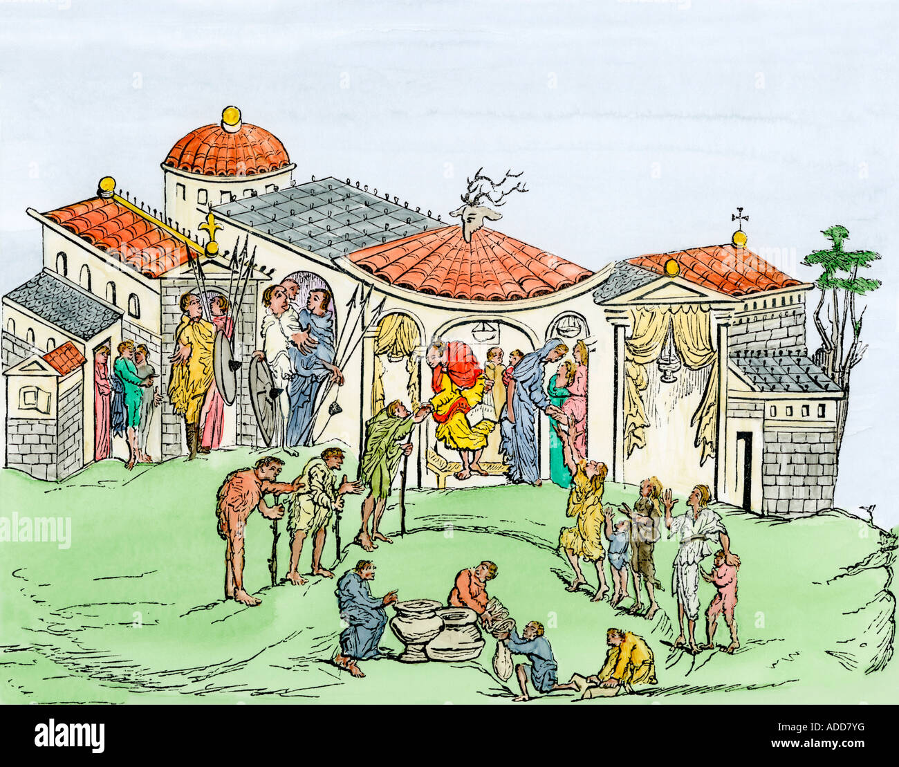 Residence of a Saxon nobleman early Middle Ages. Hand-colored woodcut - Stock Image